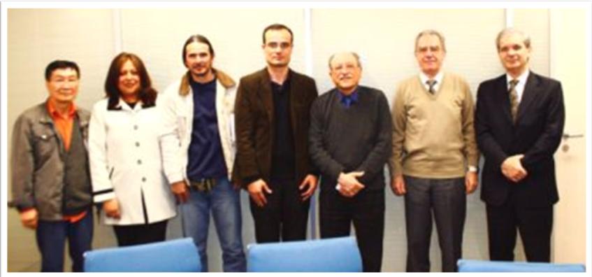 Membros da ANAGEA Minoru, Raquel, Gérson e Alexandre. Membros do CRQ Sr. Manlio, Sérgio Rodrigues e José Glauco. Foto: JP Rodrigues
