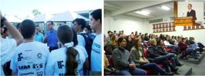 Conversando com alunos em Cuiabá e palestrando na Universidade Estadual do Rio Grande do Sul